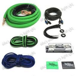 Oversized 1/0 Ga Amp Kit Twisted RCA Green Black Complete Sk
