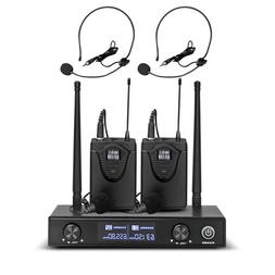 Pro Audio UHF Wireless Microphone System 2 Channel 2 Lavalie