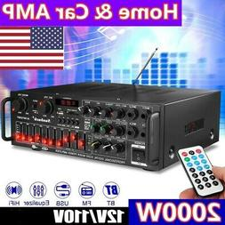 2000W bluetooth Stereo Audio Power Amplifier 2Ch AMP FM Radi