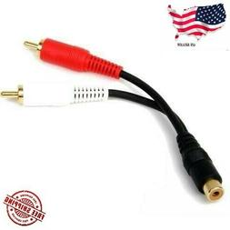 6 inch RCA Female to 2 RCA Male Gold Plated Audio Adapter Y
