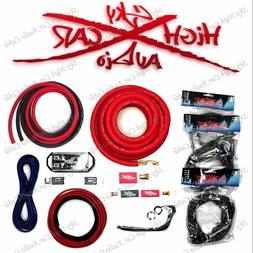 Sky High Car Audio Red 1/0 AWG OFC to Dual 4 Gauge OFC Compl