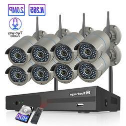 Techage 8CH Wireless NVR 2MP 1080P 2-Way Audio Wifi Camera C