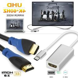 ThunderBolt USB 3.1 Type-C to HDMI 2.0 Cable Hi-Speed UHD TV