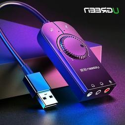Ugreen Sound Card USB Audio Interface External 3.5mm Microph