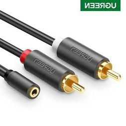 Ugreen Speaker Cable 2 RCA Male To 3.5mm Female Adapter Audi