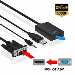 VGA Male To HDMI Output 1080P HD+ Audio TV AV HDTV Video Cab