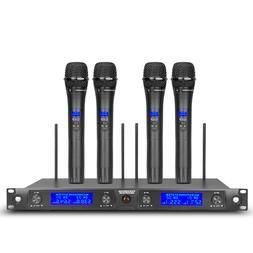 Wireless Microphone System Pro Audio UHF 4 Channel 4 Handhel