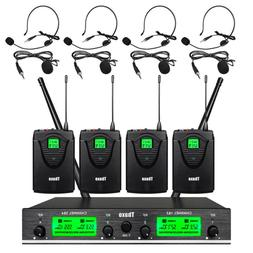 Wireless Microphone System Pro Audio UHF 4 Channel 4 Lavalie