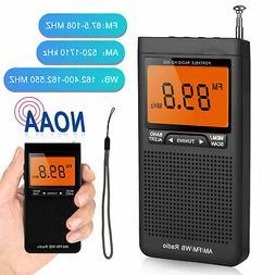Portable Pocket Mini NOAA AM FM Emergency Radio w/Alarm Cloc